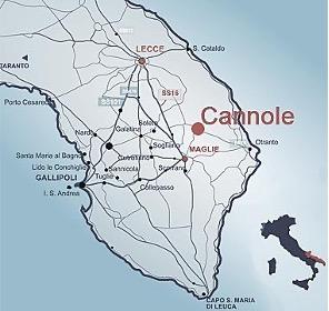 Mappa del Salento e di Cannole